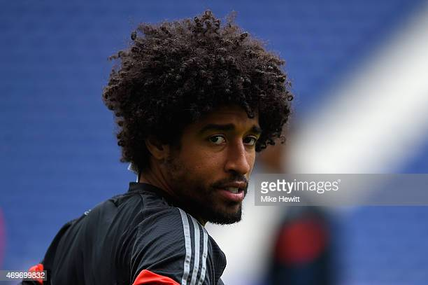 Dante looks on during a FC Bayern Muenchen Training Session ahead of the UEFA Champions League QuarterFinal First Leg match between Porto and FC...