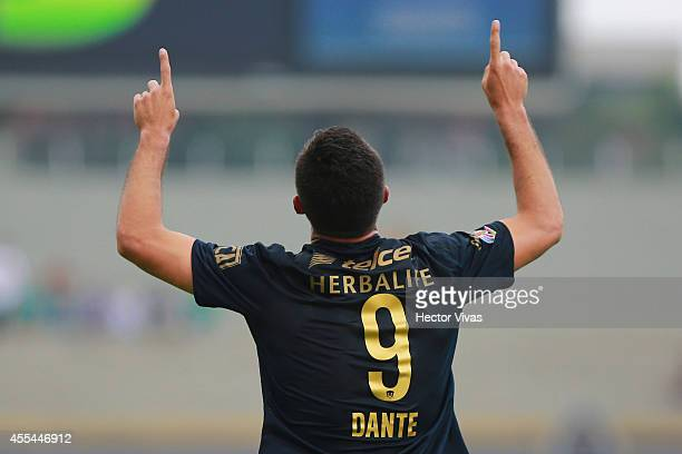 Dante Lopez of Pumas celebrates after scoring the opening goal against Tigres during a match between Pumas UNAM and Tigres UANL as part of 8th round...