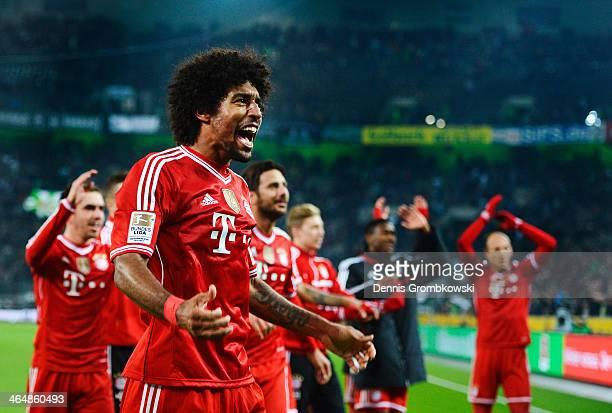 Dante of FC Bayern Muenchen celebrates after the Bundesliga match between Borussia Moenchengladbach and FC Bayern Muenchen at BorussiaPark on January...