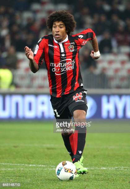 Dante of Nice in action during the French Ligue 1 match between OGC Nice and Monptellier Herault SC at Allianz Riviera stadium on February 24 2017 in...