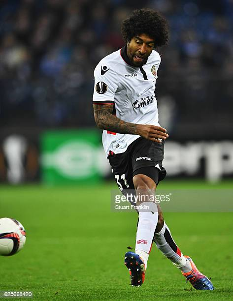 Dante of Nice in action during the UEFA Europa League match between FC Schalke 04 and OGC Nice at VeltinsArena on November 24 2016 in Gelsenkirchen...