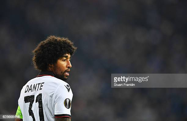 Dante of Nice looks on during the UEFA Europa League match between FC Schalke 04 and OGC Nice at VeltinsArena on November 24 2016 in Gelsenkirchen...