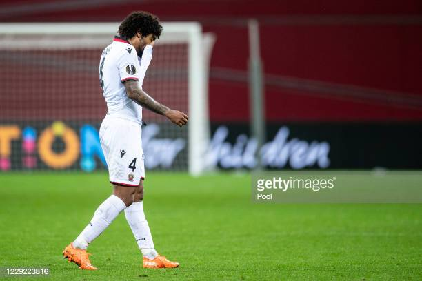 Dante of OGC Nice reacts after the UEFA Europa League Group C stage match between Bayer 04 Leverkusen and OGC Nice at BayArena on October 22, 2020 in...