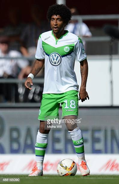 Dante of Wolfsburg controls the ball during the Bundesliga match between FC Ingolstadt and VfL Wolfsburg at Audi Sportpark on September 12 2015 in...