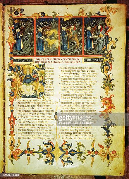 Dante on the threshold of hell first encountering the beasts and then Virgil scenes from Canto I from the Divine Comedy by Dante Alighieri...