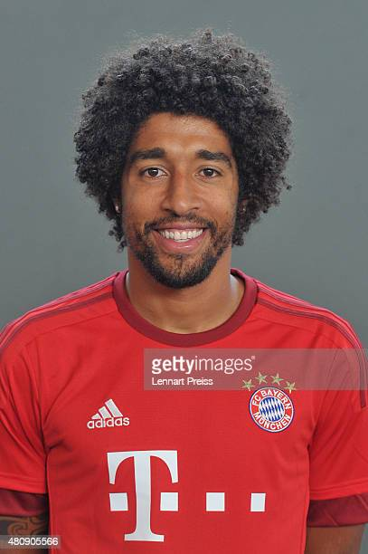 Dante poses during the team presentation of FC Bayern Muenchen at Bayern's training ground Saebener Strasse on July 16 2015 in Munich Germany