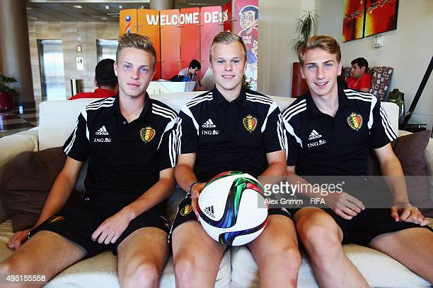Dante Rigo Matthias Verreth and Lennerd Daneels of Belgium pose in the Hotel Diego de Almagro Hotel during the FIFA U17 World Cup Chile 2015 on...