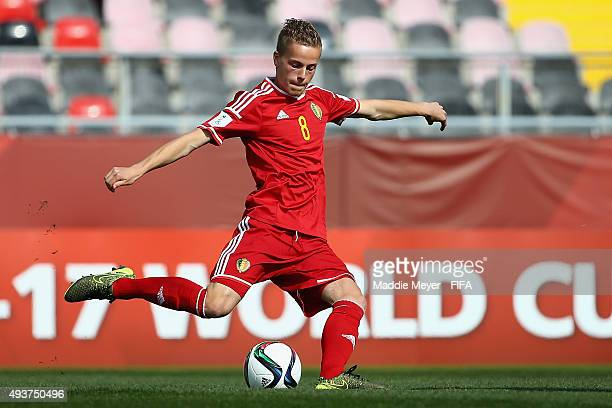 Dante Rigo of Belgium clears the ball downfield during the FIFA U17 World Cup Chile 2015 group D match between Belgium and Honduras at Estadio Fiscal...