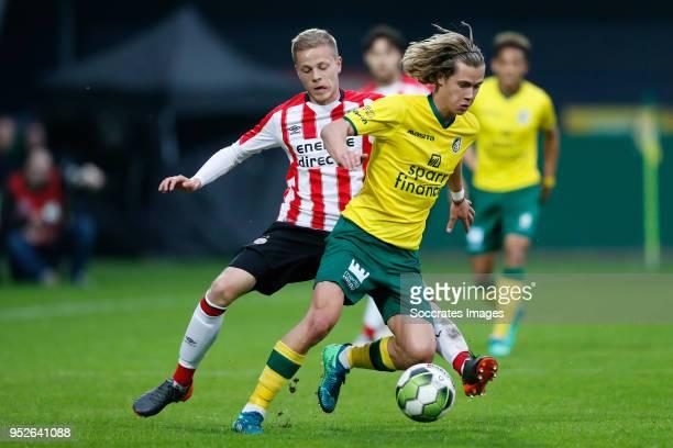 Dante Rigo of PSV U23 Todd Cantwell of Fortuna Sittard during the Dutch Jupiler League match between Fortuna Sittard v PSV U23 at the Fortuna Sittard...