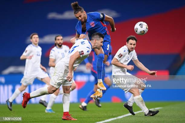 Dante Rossi of San Marino pulls the shirt of Dominic Calvert-Lewin of England during the FIFA World Cup 2022 Qatar qualifying match between England...