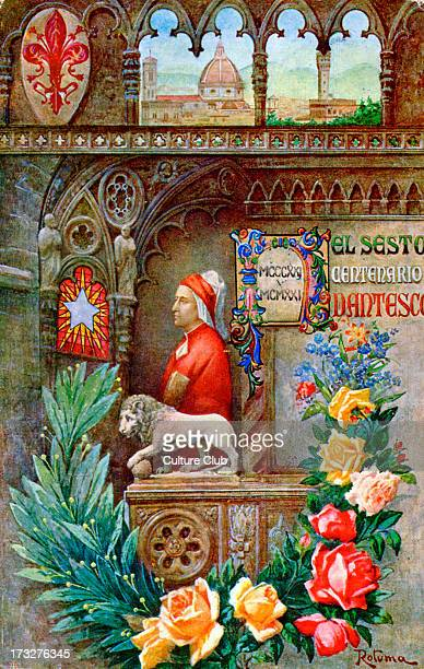 Dante 's Sixth Centenary 1921 Illustration by Rotuma Plaque shows dates MCCCXXI MCMXXI With portrait of Dante after painting attributed to Giotto in...