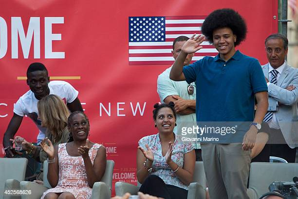 AGATA DE' GOTI ITALY JULY 23 Dante son of Bill de Blasio waves during a conference as De Blasio visits his grandfather's town and receives honorary...