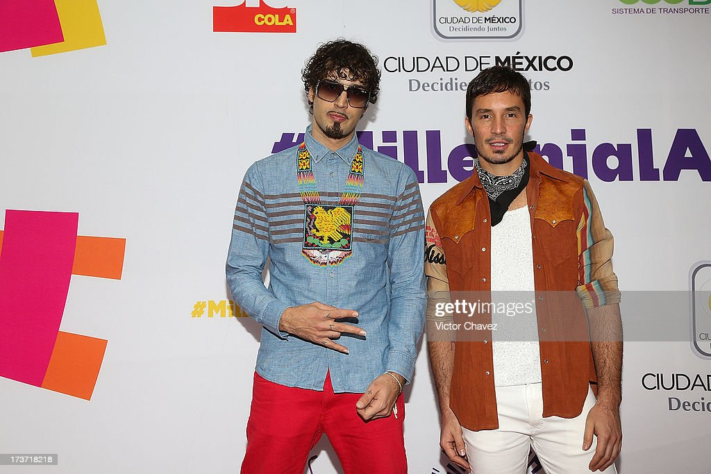 Dante Spinetta and Emmanuel Horvilleur of Illya Kuryaki and the Valderramas attend the MTV Millennial Awards 2013 at Foro Corona on July 16, 2013 in Mexico City, Mexico.