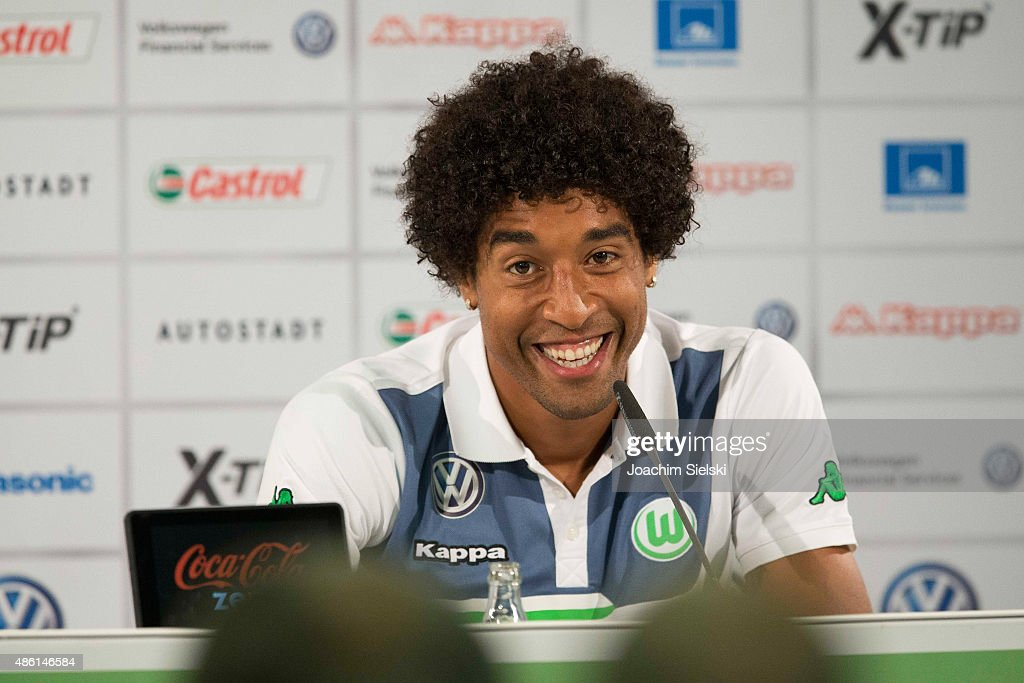 Dante talks to the media during a Press conference at Volkswagen Arena on September 1, 2015 in Wolfsburg, Germany.