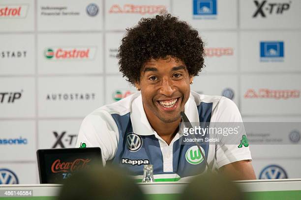 Dante talks to the media during a Press conference at Volkswagen Arena on September 1 2015 in Wolfsburg Germany