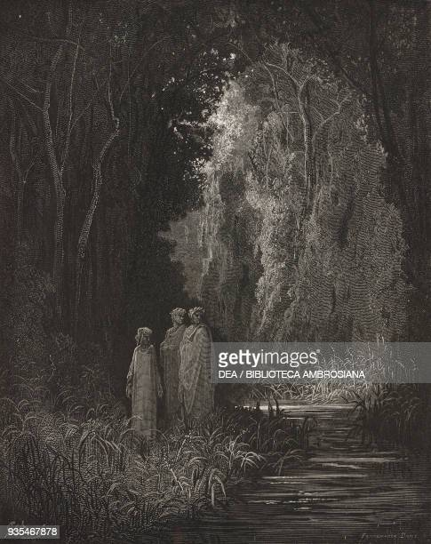 Dante, Virgil and Statius reaching the bank of the river Lethe, in the Garden of Eden, engraving by Gustave Dore , Canto XXVIII, Purgatory, Divine...