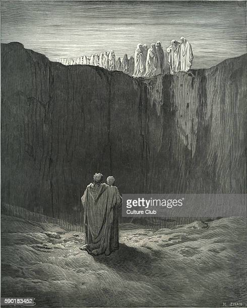 Dante's purgatory, part of his Divina Commedia / Divine Comedy. Illustration by Gustave DorŽ. Canto III lines 54-59 'And while, with looks directed...