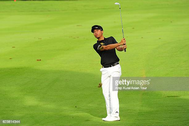 Danthai Boonma of Thailand plays a shot during round one of the BANK BRIJCB Indonesia Open at Pondok Indah Golf Course on November 17 2016 in Jakarta...