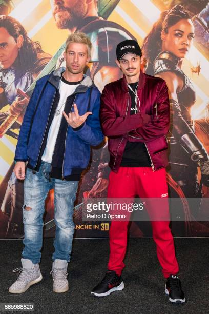 Danti and Fabio Rovazzi attends the 'Thor Ragnarok' premiere on October 24 2017 in Milan Italy