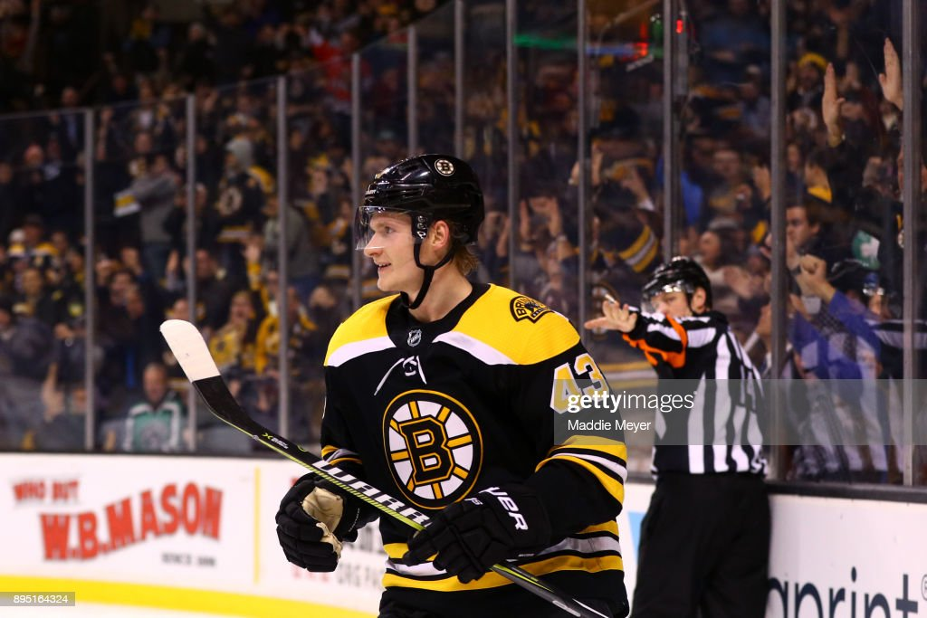 Danton Heinen #43 of the Boston Bruins celebrates after scoring against the Columbus Blue Jackets during the third period at TD Garden on December 18, 2017 in Boston, Massachusetts. The Bruins defeat the Blued Jackets 7-2.