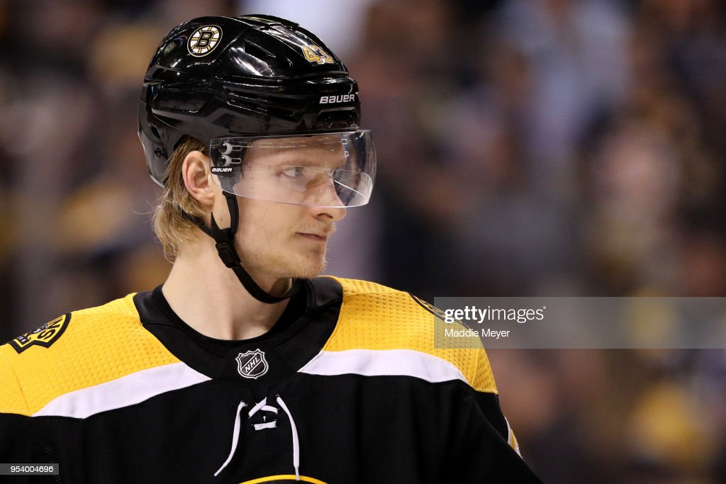 Danton Heinen #43 of the Boston Bruins looks on during the second period of Game Three of the Eastern Conference Second Round during the 2018 NHL Stanley Cup Playoffs against the Tampa Bay Lightning at TD Garden on May 2, 2018 in Boston, Massachusetts.
