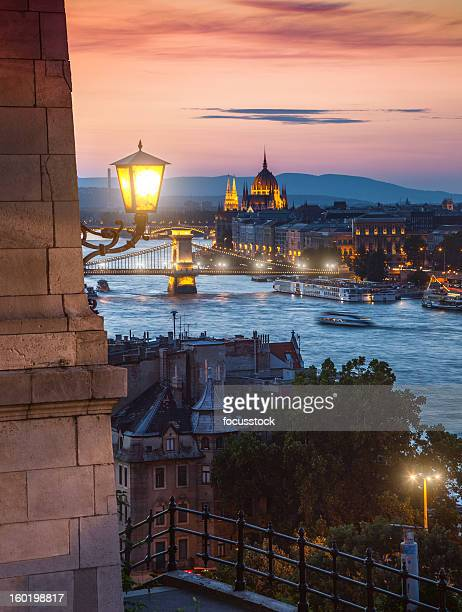 Danube river in Budapest at night