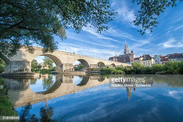 danube river regensburg bavaria germany - regensburg stock photos and pictures