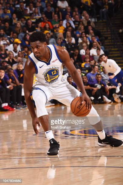 Danuel House Jr #12 of the Golden State Warriors handles the ball against the Phoenix Suns during a preseason game on October 8 2018 at ORACLE Arena...