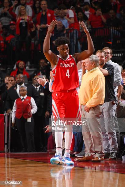 Danuel House Jr #4 of the Houston Rockets celebrates during the game against the Phoenix Suns on March 15 2019 at the Toyota Center in Houston Texas...