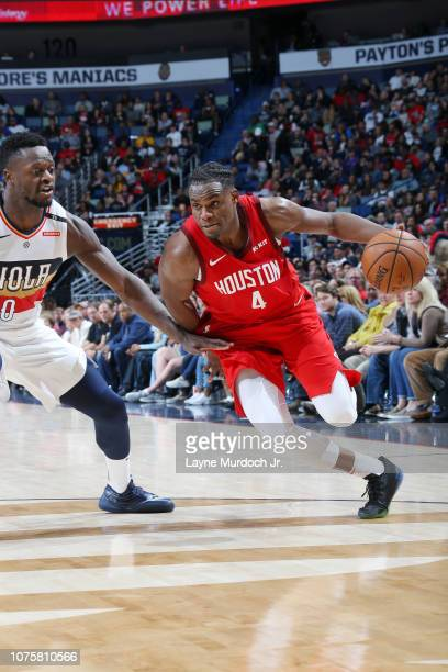 Danuel House Jr #4 of the Houston Rockets drives to the basket against the New Orleans Pelicans on December 29 2018 at the Smoothie King Center in...