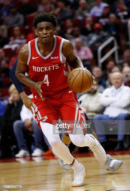 Danuel House Jr #4 of the Houston Rockets drives to the basket against the Memphis Grizzlies at Toyota Center on January 14 2019 in Houston Texas...