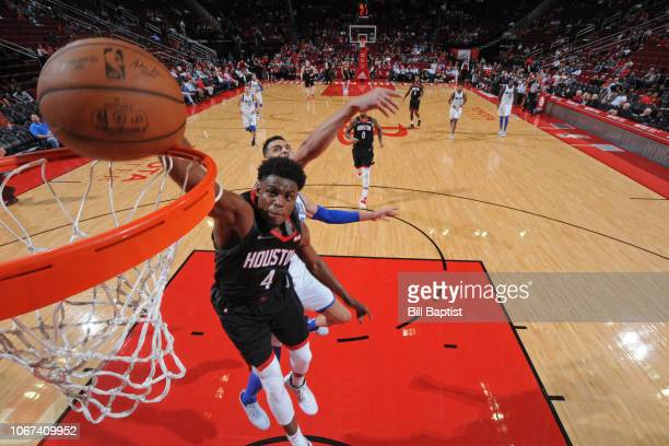 Danuel House Jr #4 of the Houston Rockets dunks the ball against the Dallas Mavericks on November 28 2018 at the Toyota Center in Houston Texas NOTE...