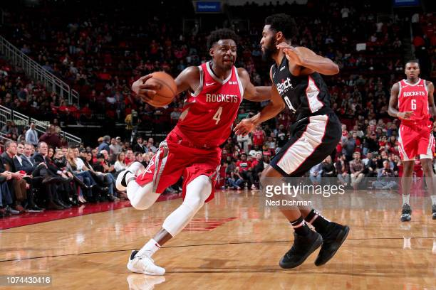 Danuel House Jr #4 of the Houston Rockets handles the ball during the game against the Washington Wizards on December 19 2018 at the Toyota Center in...