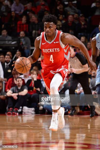 Danuel House Jr #4 of the Houston Rockets handles the ball during the game against Memphis Grizzlies on January 14 2019 at the Toyota Center in...