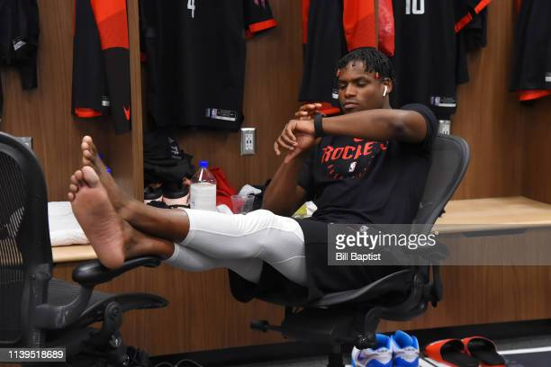 Danuel House Jr #4 of the Houston Rockets is seen in the locker room before the game against the Utah Jazz during Game Four of Round One of the 2019...