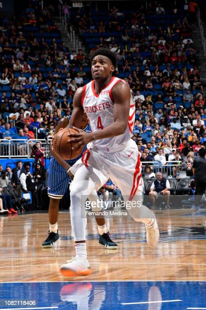 Danuel House Jr #4 of the Houston Rockets prepares to dunk against the Orlando Magic on January 13 2019 at Amway Center in Orlando Florida NOTE TO...