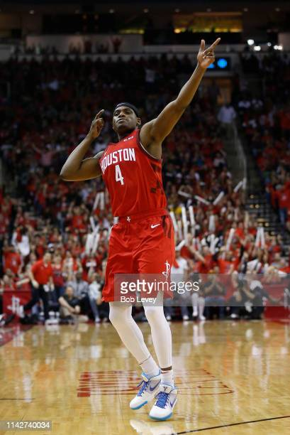 Danuel House Jr #4 of the Houston Rockets reacts after making a three point basket against the Utah Jazz during Game One of the first round of the...