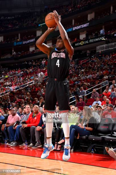 Danuel House Jr #4 of the Houston Rockets shoots a three point basket during the game against the San Antonio Spurs on March 22 2019 at the Toyota...