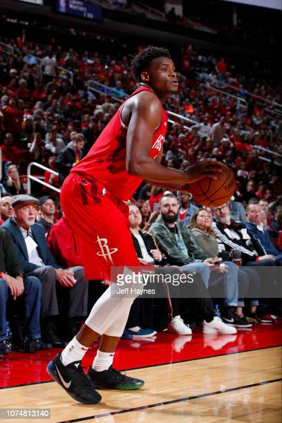 Danuel House Jr #4 of the Houston Rockets shoots a three pointer during the game against the Oklahoma City Thunder on December 25 2018 at the Toyota...