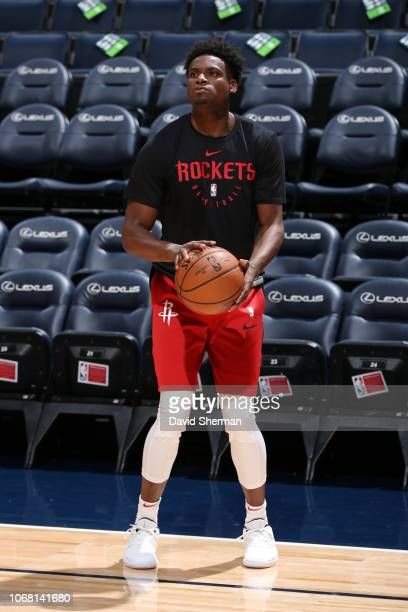 Danuel House Jr #4 of the Houston Rockets shoots a threepointer before the game against the Minnesota Timberwolves on December 3 2018 at Target...