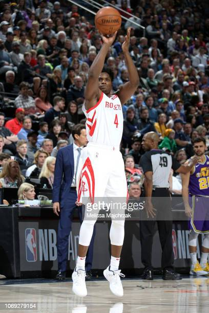 Danuel House Jr #4 of the Houston Rockets shoots the ball against the Utah Jazz on December 6 2018 at vivintSmartHome Arena in Salt Lake City Utah...