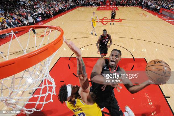 Danuel House Jr #4 of the Houston Rockets shoots the ball against the Los Angeles Lakers on December 13 2018 at the Toyota Center in Houston Texas...