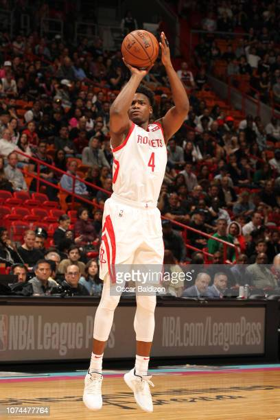 Danuel House Jr #4 of the Houston Rockets shoots the ball against the Miami Heat on December 20 2018 at American Airlines Arena in Miami Florida NOTE...