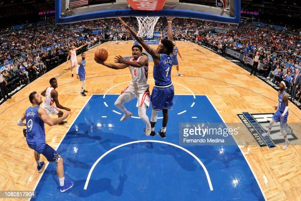 Danuel House Jr #4 of the Houston Rockets shoots the ball against the Orlando Magic on January 13 2019 at Amway Center in Orlando Florida NOTE TO...