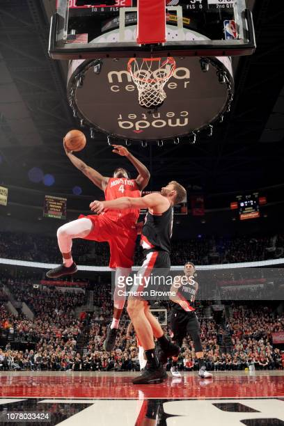 Danuel House Jr #4 of the Houston Rockets shoots the ball during the game against the Portland Trail Blazers on January 5 2019 at the Moda Center...