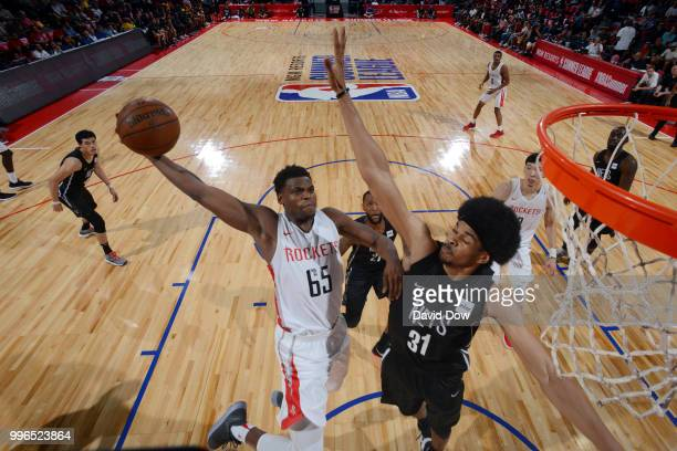 Danuel House of the Houston Rockets goes up for a dunk against the Brooklyn Nets during the 2018 Las Vegas Summer League on July 11 2018 at the Cox...