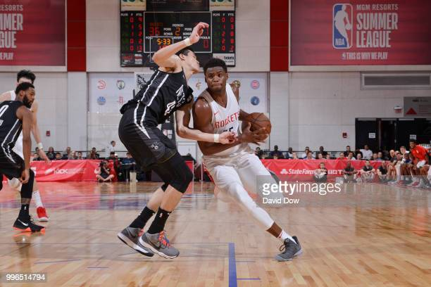 Danuel House of the Houston Rockets handles the ball against the Brooklyn Nets during the 2018 Las Vegas Summer League on July 11 2018 at the Cox...