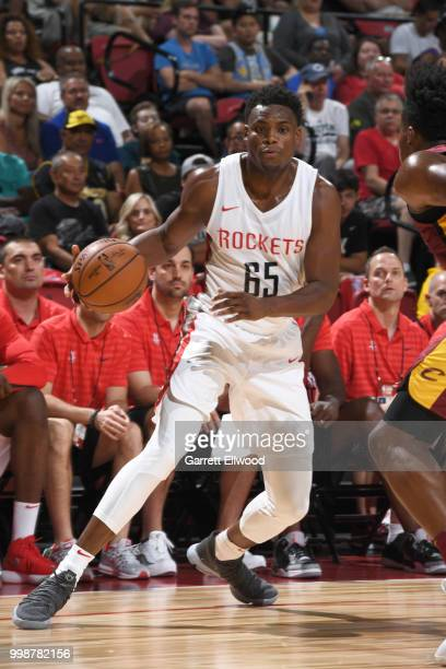 Danuel House of the Houston Rockets handles the ball against the Cleveland Cavaliers during the 2018 Las Vegas Summer League on July 14 2018 at the...