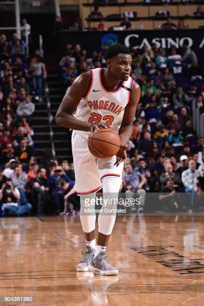 Danuel House of the Phoenix Suns handles the ball during the game against the Houston Rockets on January 12 2018 at Talking Stick Resort Arena in...