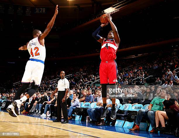 Danuel House of the Washington Wizards shoots the ball against the New York Knicks during a preseason game on October 10 2016 at Madison Square...